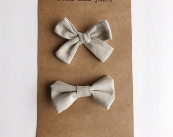 Linen colored  bow tie and hair clip/headband Sibling Set