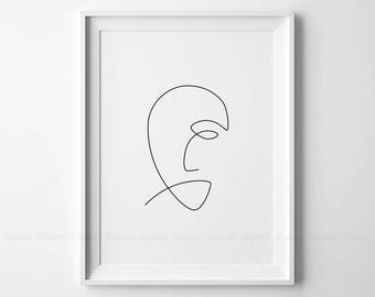 Line Drawing Of Sad Face : One line face printable art woman faces print black white