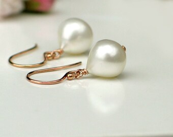 Rose Gold Pearl Earrings | White Freshwater Onion Drop Pearl | 14k Rose Gold Filled Dangles | Birthday Gift | Everyday Pearl | Ready to Ship