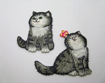 Set of 2 embroidered iron-on application pattern cats gray and white - ref 6J