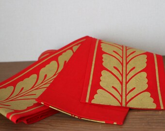 SALE /// Vintage cotton Hanhaba Obi /// Japanese Gold Red Obi, Hanhaba Obi, cotton belt, Kimono, Red cotton belt, Gold cotton Obi, Red obi