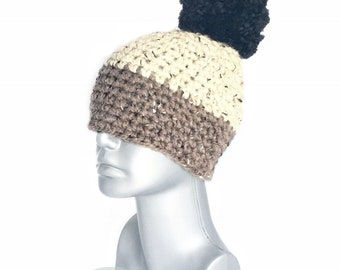 Brown and Beige Tweed Beanie with Black Pom, Chunky Neutral Crochet Hat, Black Tan Winter Beanie With Puff, PomPom Knit Hat, Oatmeal Ski Cap