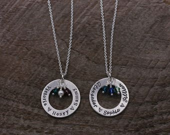 Necklace with Birthstones, Washer Necklace, Sterling Silver Necklace, Family Necklace, Gift for Mom, Gift for Wife