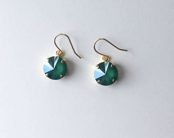 Handmade Earrings - Made with Swarovski Crystal (Dark Green)