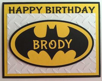 "Handmade ""Personalized"" Batman Birthday Card, A2, Super Hero, Batman"