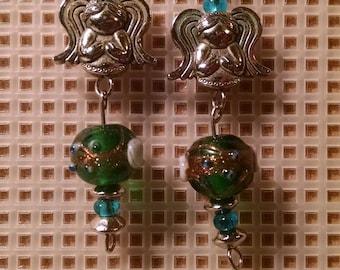 Angel earrings green lampwork beads dangle earring