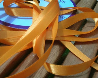 Orange satin ribbon light width 10 mm by the yard
