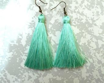 Aqua Mint tassel earrings.
