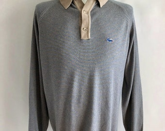 Vintage Men's 80's Izod Lacoste, Striped Sweater, Pull Over (XL)