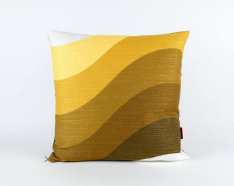 70s Pillow Cover, mid century throw pillow, brown and yellow pillow, retro cushion cover handmade by EllaOsix