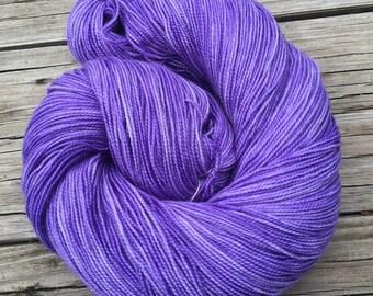 Avast ye Wildcats! purple hand dyed sock weight yarn Shawl Length Super Skein Superwash Merino Cashmere Nylon MCN 600 yards lilac violet ksu