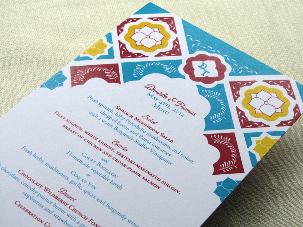 Mexican Tile Menu Talavera Floral Monogram Reception