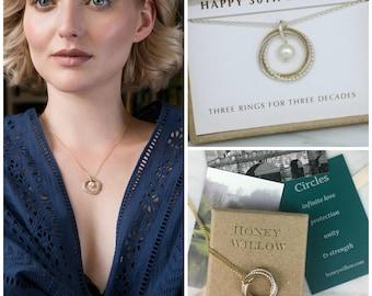 30th birthday gift, June birthstone necklace pearl, June birthday gift 30th, pearl jewelry - Lilia
