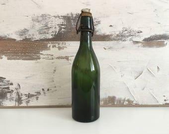 Old green  bottle - Vintage bottles - Lemonade bottle - An old green beer bottle - Bottle with ceramic stopper