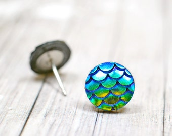 Blue Green Mermaid Tail Earrings 12mm, Iridescent Dragon Scale Fantasy Jewelry, Nautical Studs, Beach Jewelry