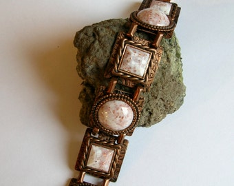 Vintage Copper and Confetti Lucite Square Link Bracelet