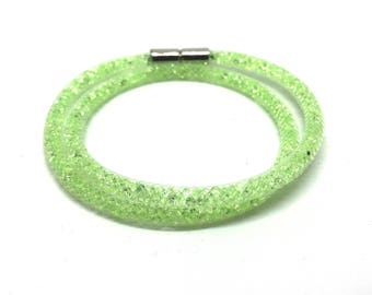 Crystal Wrap bracelet lime green with magnetic clasp 18 cm