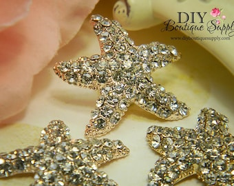 30mm Large Rose Gold Starfish Rhinestone buttons Flatback Metal Embellishment Bridal Wedding Supplies flower centers 3 pcs 200070