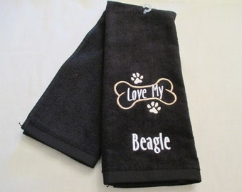 Beagle Hand Towel, Pet Towel, Grooming Towel, Embroidered Dog Towel