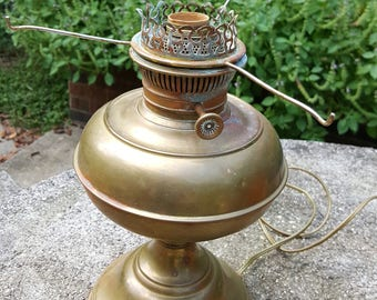 Vintage lamp parts etsy vintage rayo brass lamp parts base and arms electrified working no globe original patina unpolished brass aloadofball Choice Image