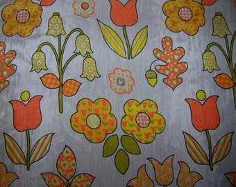 VINTAGE Flower Power Fabric Yardage Retro Abstract  5 Yards Hippie, Boho