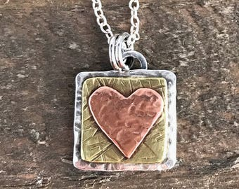 Heart Mixed Metal Necklace, Hand forged Heart Sterling Silver, Brass and Copper Pendant, Mixed Metal Hammered Heart Necklace, Ready to Ship