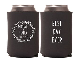 Wedding Can Coolers | Best Day Ever Rustic Wedding | Personalized  for Bride and Groom with Wedding Date | FREE Standard Shipping