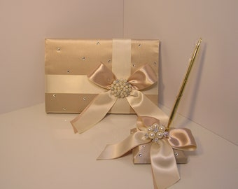Wedding Guest Book and Pen Set -Custom Made (With your colors)