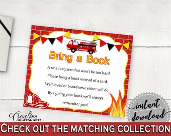Bring A Book Baby Shower Bring A Book Fireman Baby Shower Bring A Book Red Yellow Baby Shower Fireman Bring A Book - LUWX6