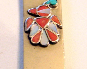 Vintage Navajo Zuni Money Clip - 1960s - Coral Turquoise Mother of Pearl - Charming Accessory