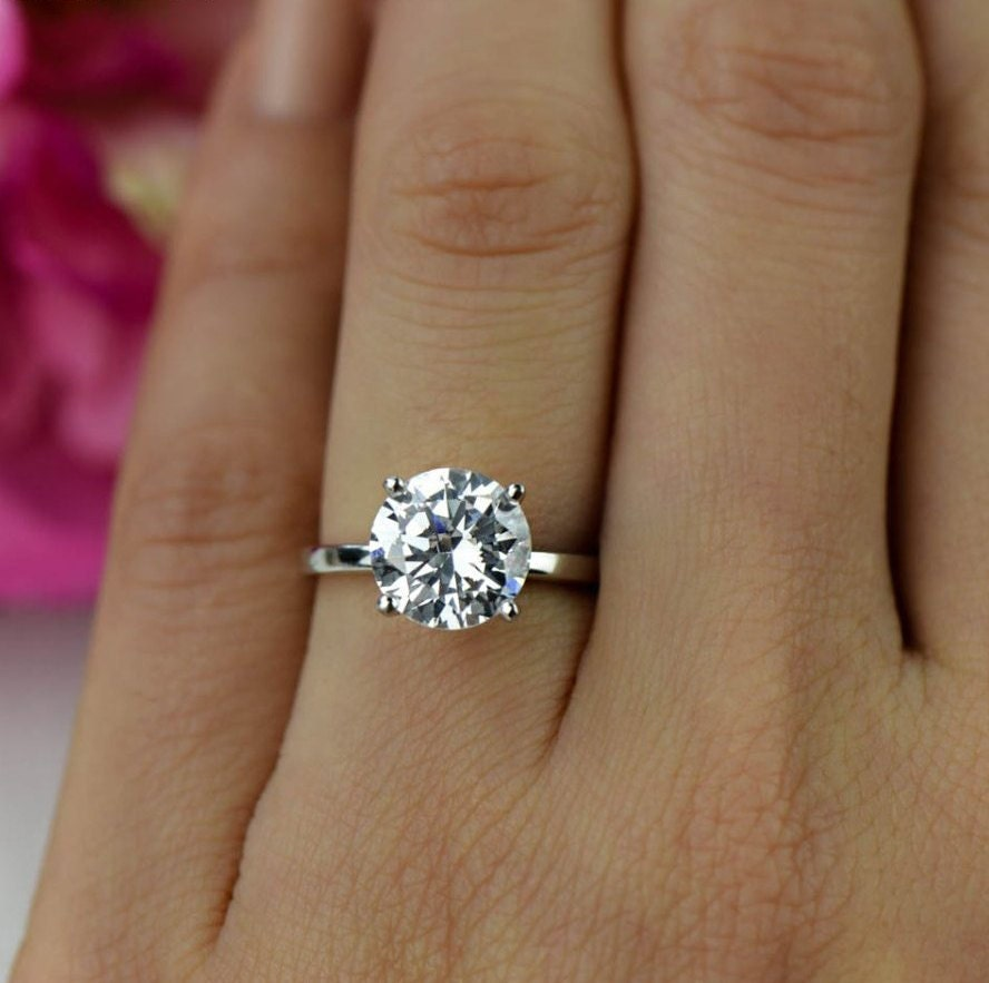 gold round pave solitaire moissanite engagement matching diamond wedding set rings thin ring rose carat band