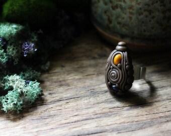 Clay & Gemstone Ring - Amethyst and Jasper - Fully Adjustable  . Handmade Clay Jewelry . Goddess . Crystal and Gemstone Jewelry