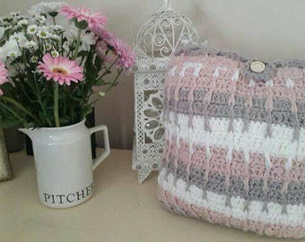 Beautiful Crochet Cushion in Taupe Dusky Pink and White look beautiful in any room