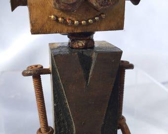 Y- Magnet, robot, assemblage, letterpress, whimsical, one of a kind, letter press