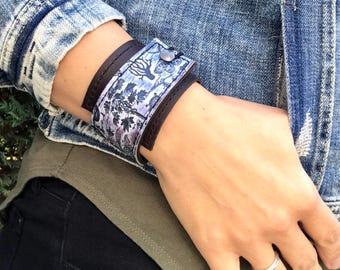 Leather Cuff Wrap Women's Bracelet, Botanical Digital Photo Print on 100% Genuine Leather