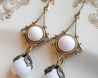 75% Off Clearance Sale, White Vintage Glass Earrings