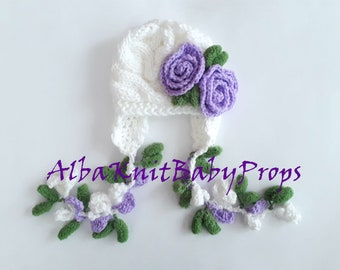 Newborn Baby Girl Hat , Knit Baby Girl Hat , Baby Hat Photo Prop , Knit Baby Hat , Crochet Flower Hat ,Photo Prop