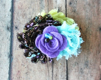 Brown, Aqua, Lavender Chiffon, Fashion Brooch,Newborn Headband,Baby Headband,Toddler, Girls, Hair Barrette, Womans Accessory, Photo Prop!