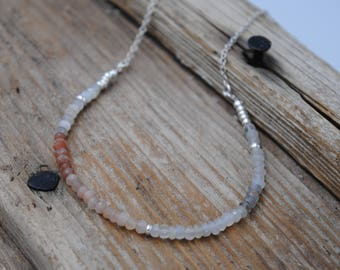 Multi-colour moonstone and silver necklace