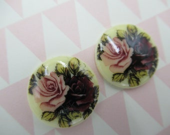 Vintage Cameos - 18mm Round Cabochons - Pink & Red Two Rose Cameo - Made in Germany - Decal Picture Stones - Qty 2