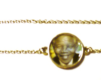 Postage Stamp Necklace Eco-design Upcycled Jewelry Nelson Mandela