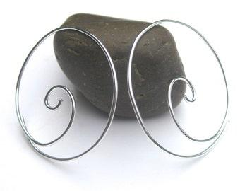 Sterling Silver Spiral Hoops- Handmade Wire Hoop Earrings, Thin Silver Hoops