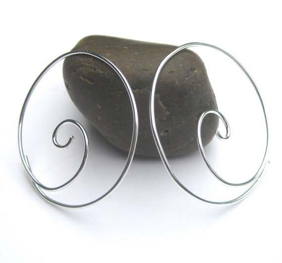 Sterling Silber Spiral Hoops handgemachte Draht Creolen