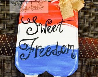 Patriotic Double Popsicle Door Hanger