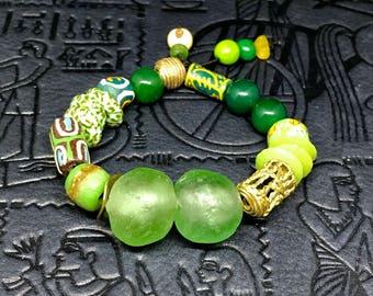 SALE**Green African Trade Bead and Ashanti Brass Chunky Bracelet