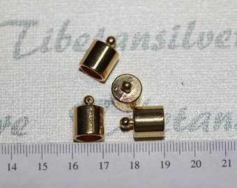 10 pcs per pack 12x10mm 8mm diameter Smooth Kumihimo End Cord Findings Gold Finish Lead Free Pewter
