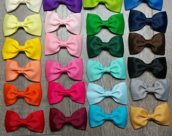 28 colors of tuxedo style bows. 2.5 inch hair bows.