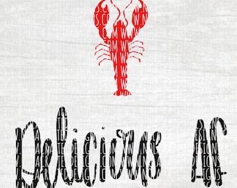 Crawfish Svg Cut File - Cray fish Svg Cut File - Louisiana Svg Cut File - Crawfish Boil Svg Cut File - Delicious AF SVG Cut File