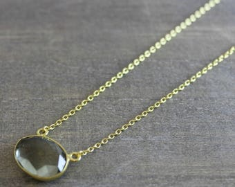 Green Amethyst Free Form Pendant Gold Plated Necklace - Prasiolite Necklace - Gold Necklace - Bridal Jewelry -  Bridesmaid Gift