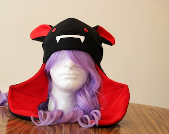 Red & Black Vampire Bat Familiar - Fleece Cosplay Hat
